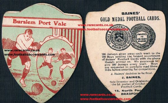 1900 Burslem Port Vale  Baines of Bradford card
